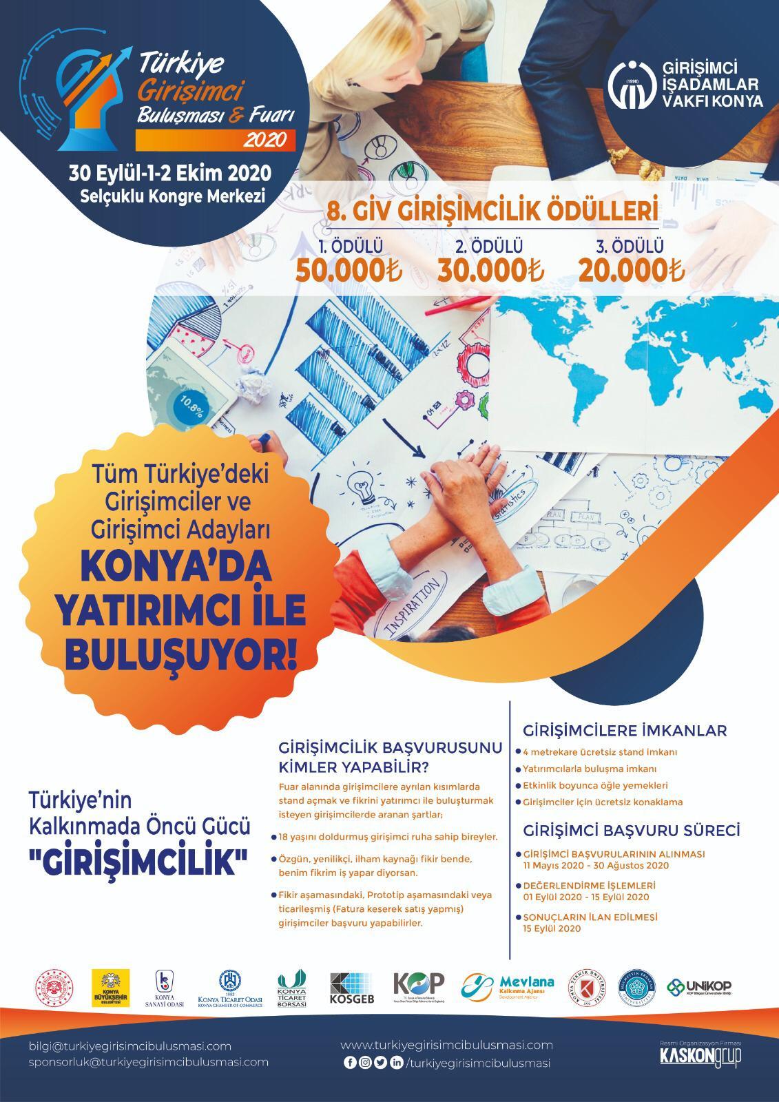Türkiye Girişimci Buluşması ve Fuarı 30 Eylülde Konya ev sahipliğinde başlıyor.